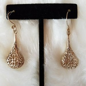 Sterling Silver Floral Filigree Teardrop Earrings